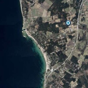 Flygfoto över Gotlands Tofta och Gnisvärd