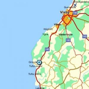 Karta över Gotlands Tofta och Gnisvärd